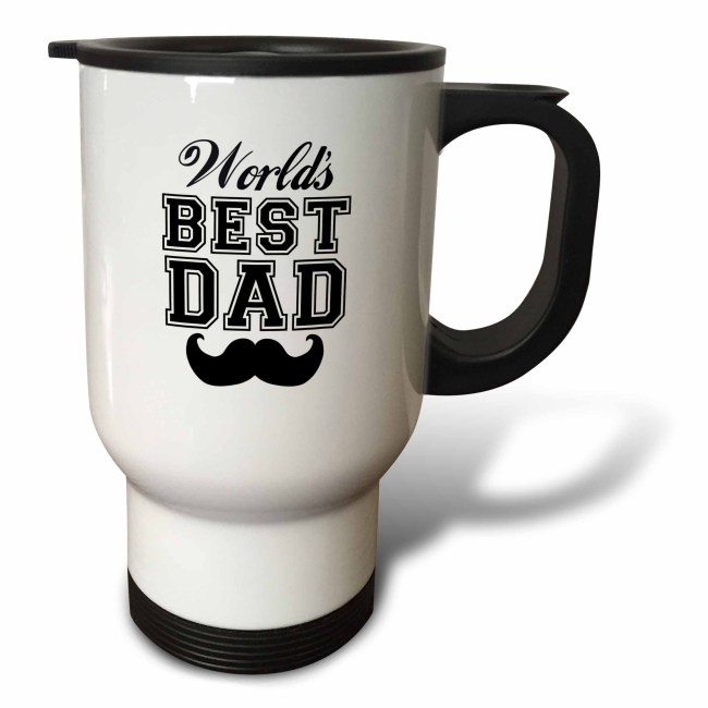 3dRose Worlds best dad with funny black mustache - retro moustache vintage font - fathers day daddy gift, Travel Mug, 14oz, Stainless Steel