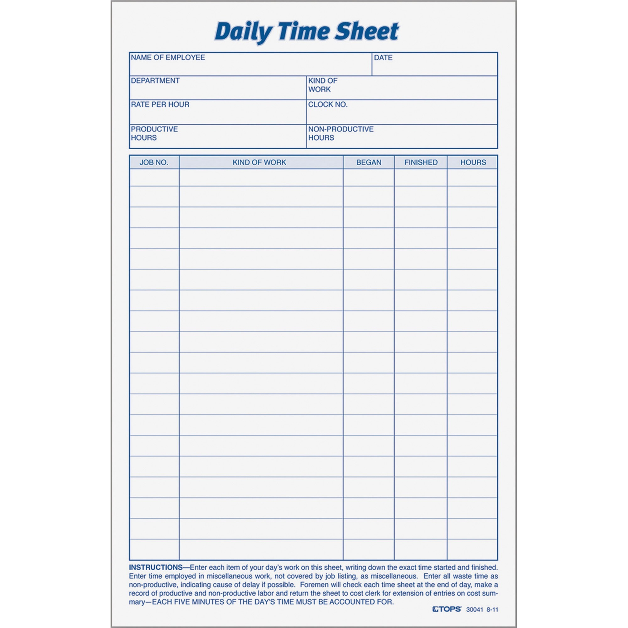 Tops Daily Time Sheet Form White 2 Pack Quantity