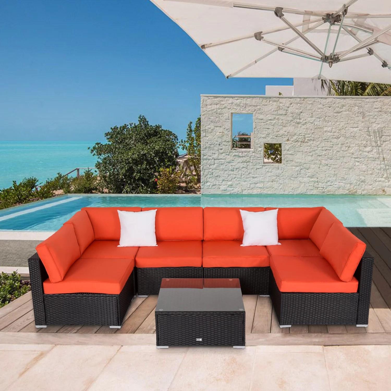 kinbor 7pcs outdoor patio furniture sectional pe rattan wicker rattan sofa set with orange cushions