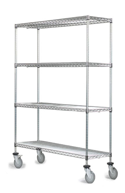 18 deep x 36 wide x 60 high 4 tier chrome wire shelf truck with 800 lb capacity