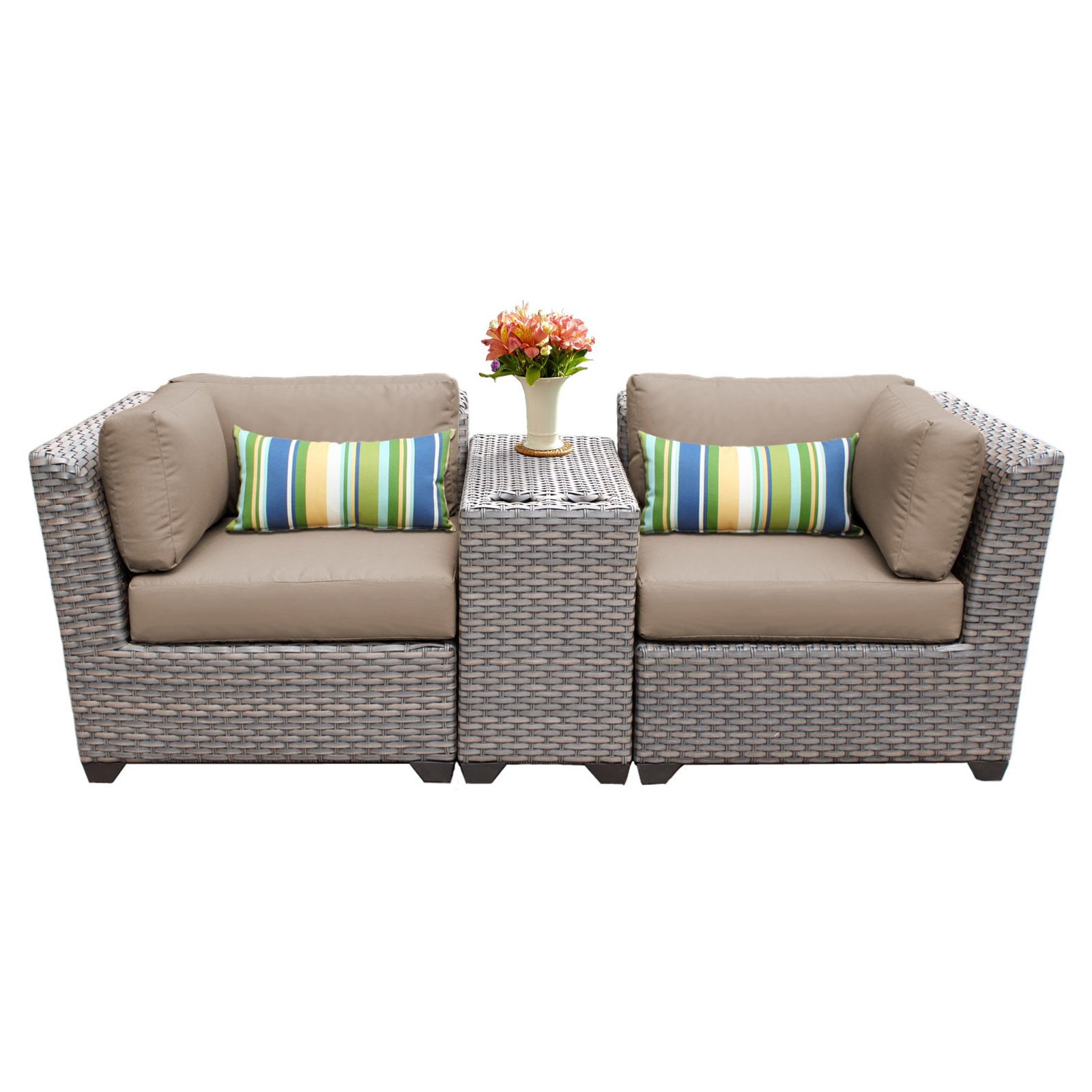 tk classics florence wicker 3 patio conversation set on 3 Piece Patio Cushion Set id=47385