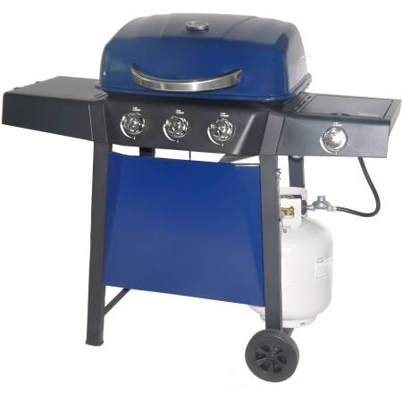 RevoAce 3-Burner Gas Grill with Side Burner, Blue Sapphire