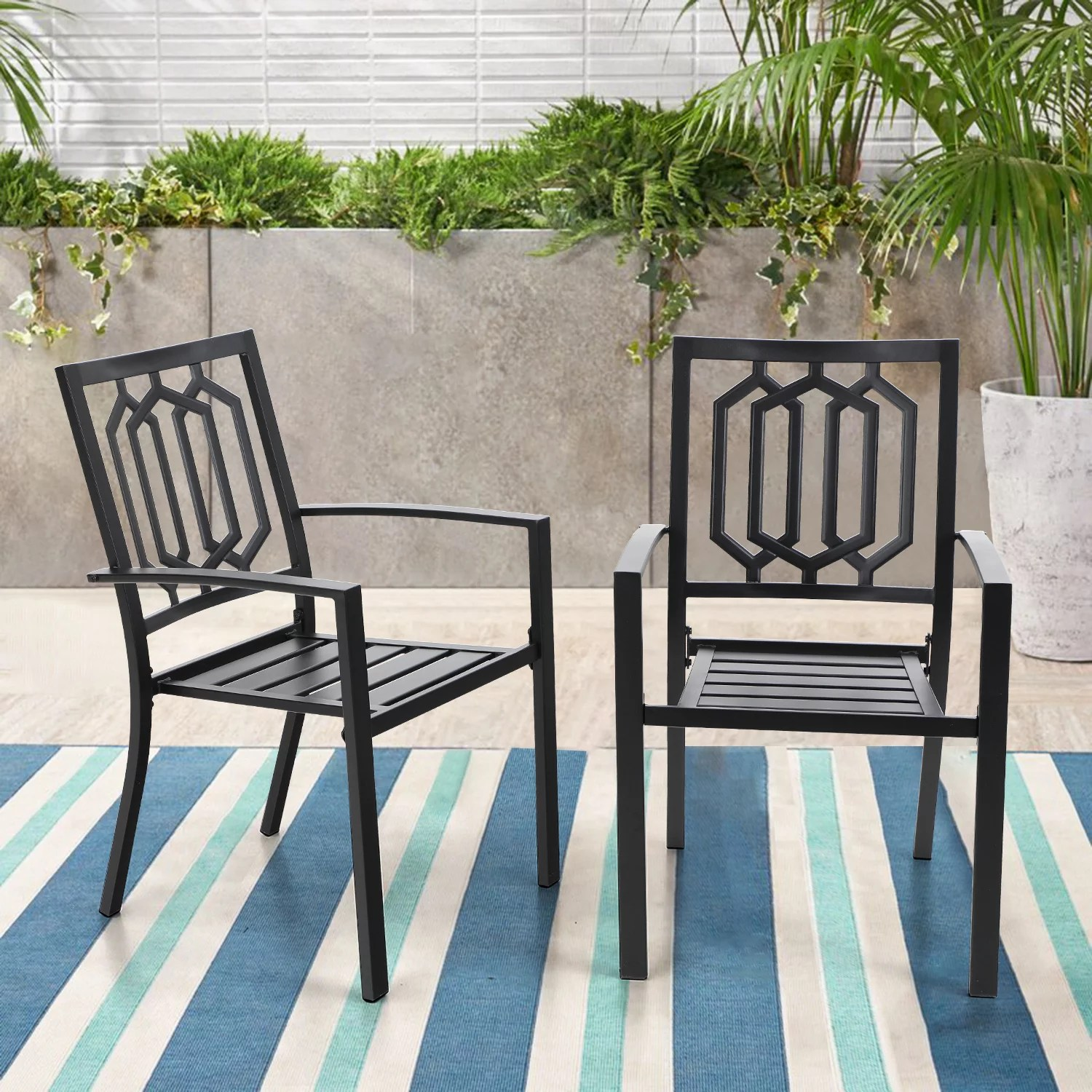 mf studio outdoor chairs set of 2 iron metal dining 300 lbs weight capacity patio bistro chairs with armrest black