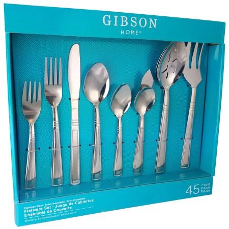 Gibson Home Astonshire 45 Peice Tumble Finish Flatware Set