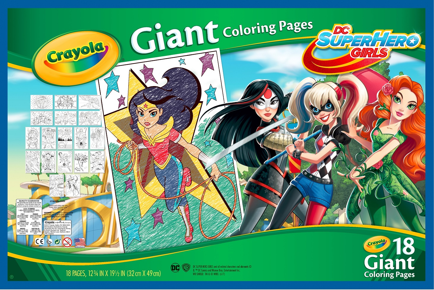 Crayola Giant Coloring Pages Featuring Dc Girl Superheroes 18 Count Walmart Com Walmart Com