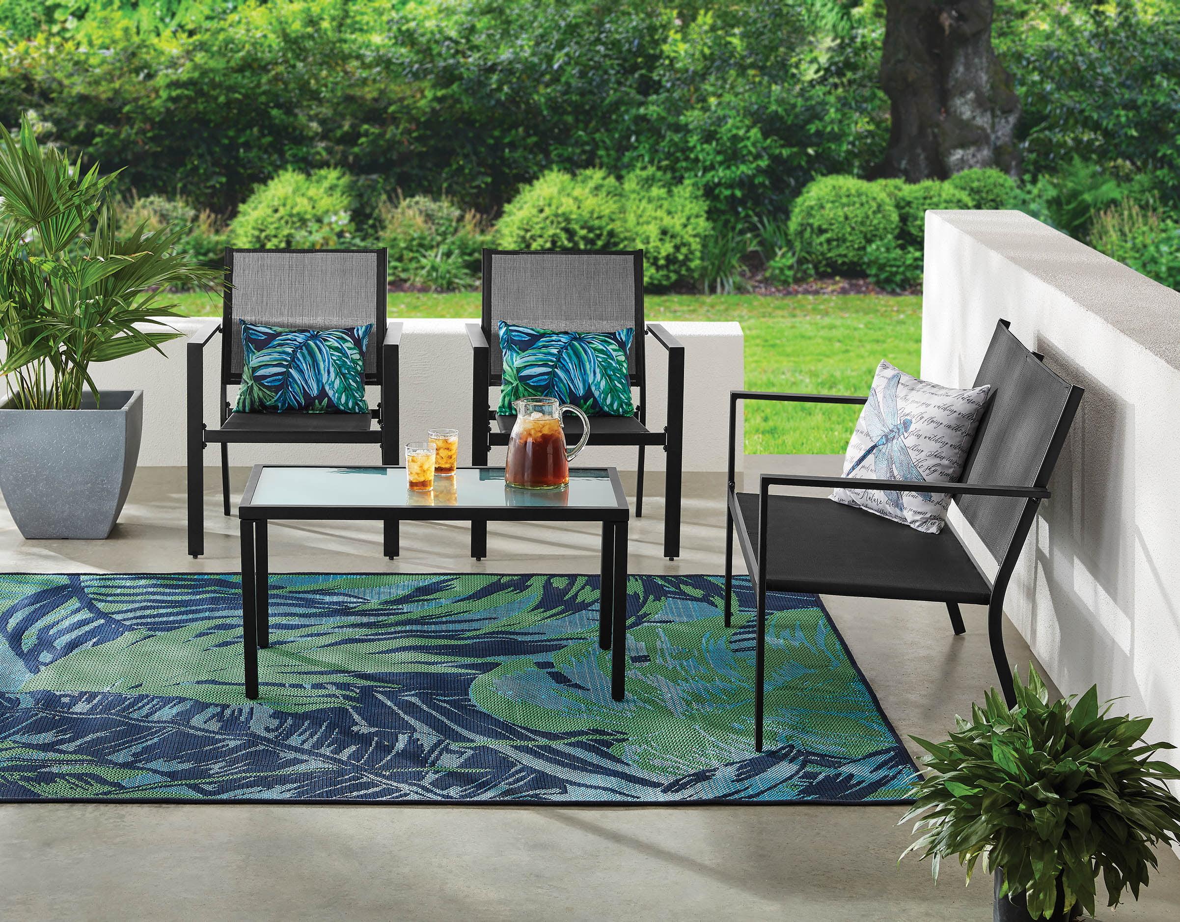 mainstays kingston ridge 4 piece outdoor patio furniture with grey sling conversation set black metal