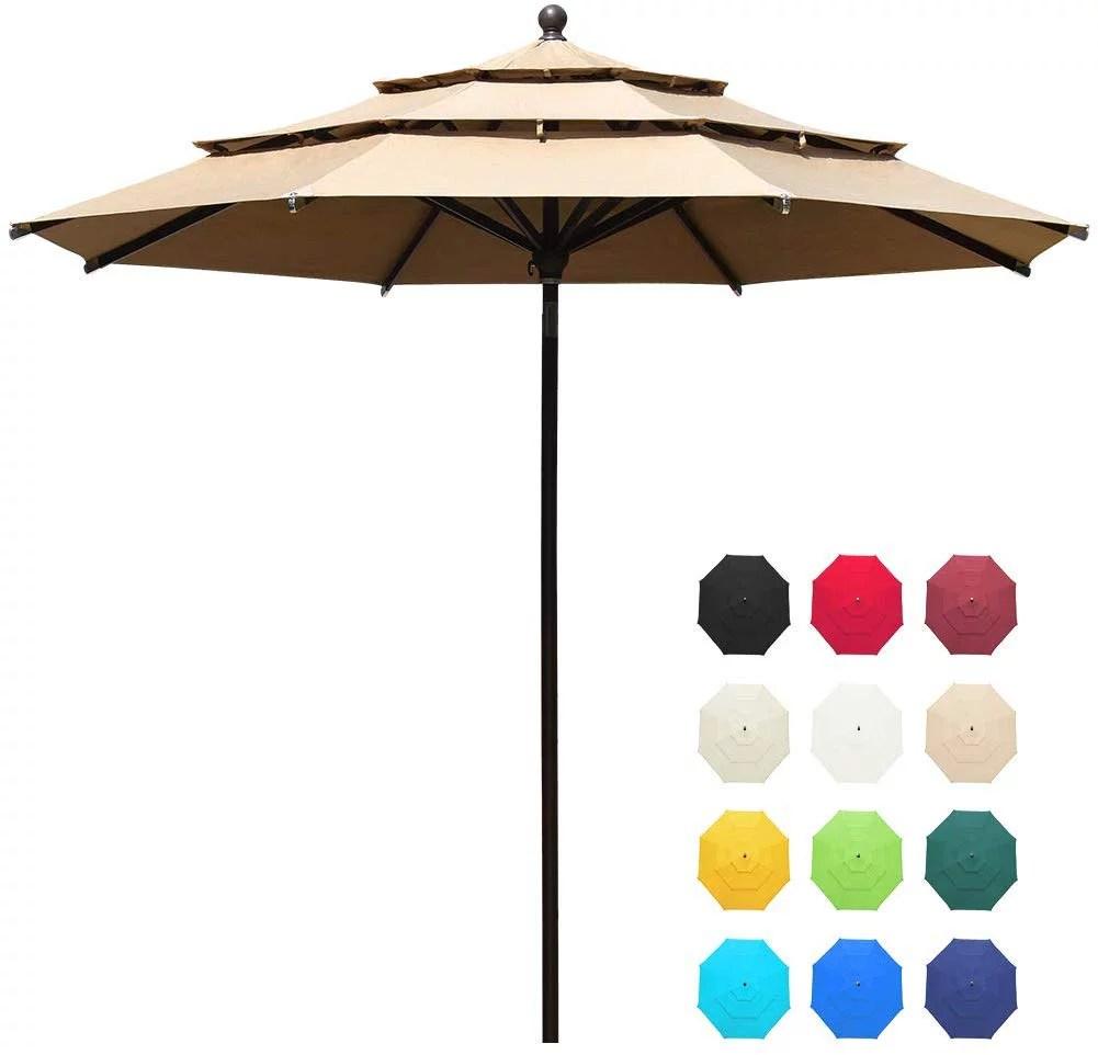 eliteshade patio umbrella type sunbrella 11ft 3 tiers with ventilation heather beige