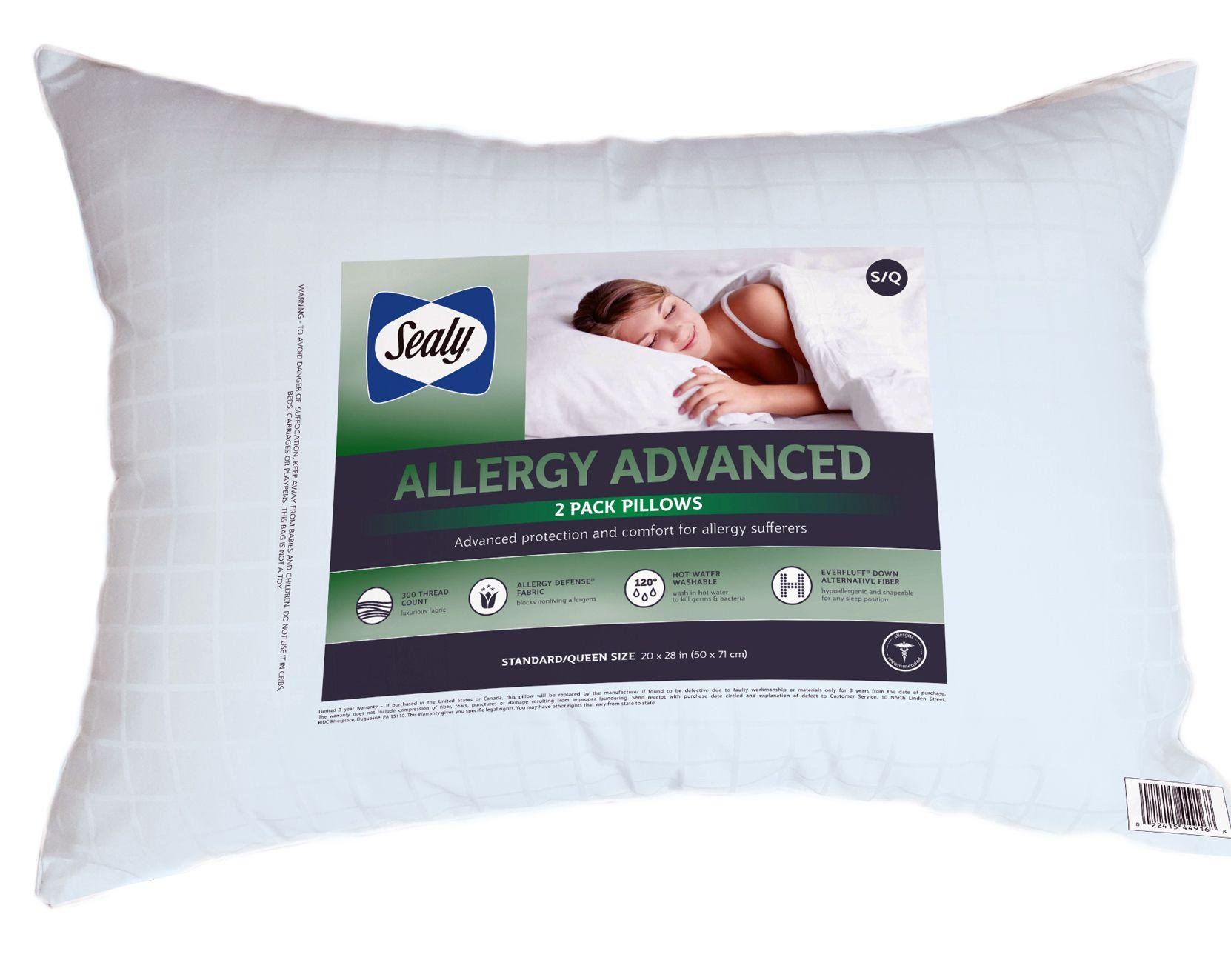 sealy allergy advanced standard size pillows 2 pk walmart com