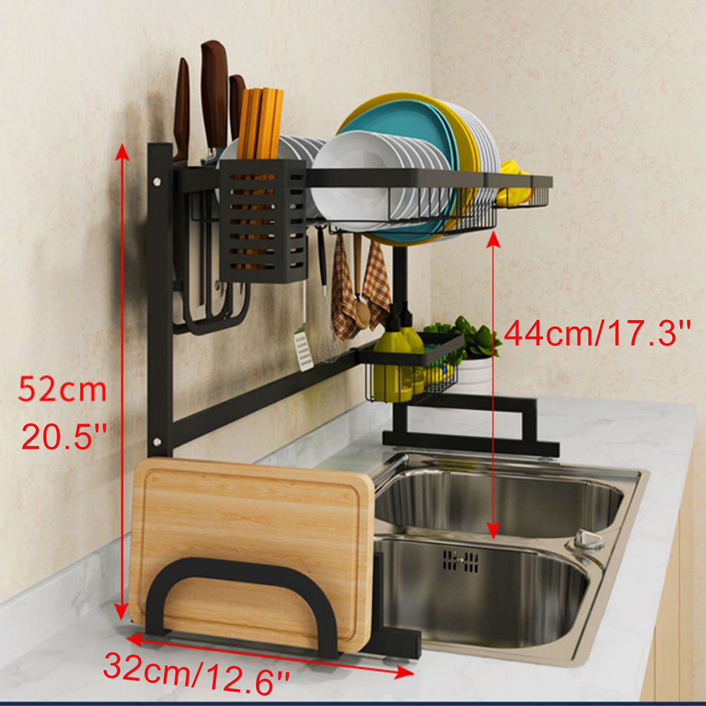 dish rack over sink 32 5 dish drying rack kitchen stainless steel over the sink shelf storage rack sink size 32 5 inch black