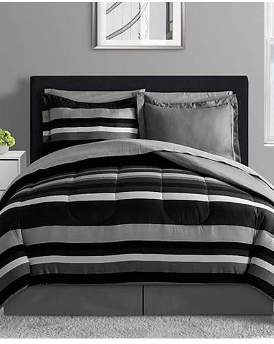 Black Gray Amp White Teen Boys Reversible Stripe Full