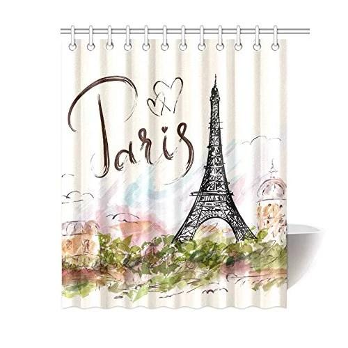 mkhert eiffel tower paris shower curtain waterproof fabric polyester bath curtain 60x72 inch