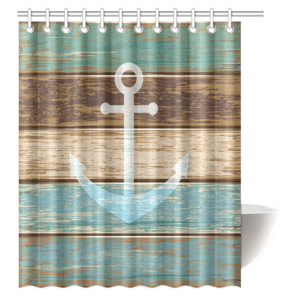mypop ocean nautical anchor shower curtain anchor blue rustic wood polyester fabric bathroom shower curtain set with hooks 60 x 72 inches long
