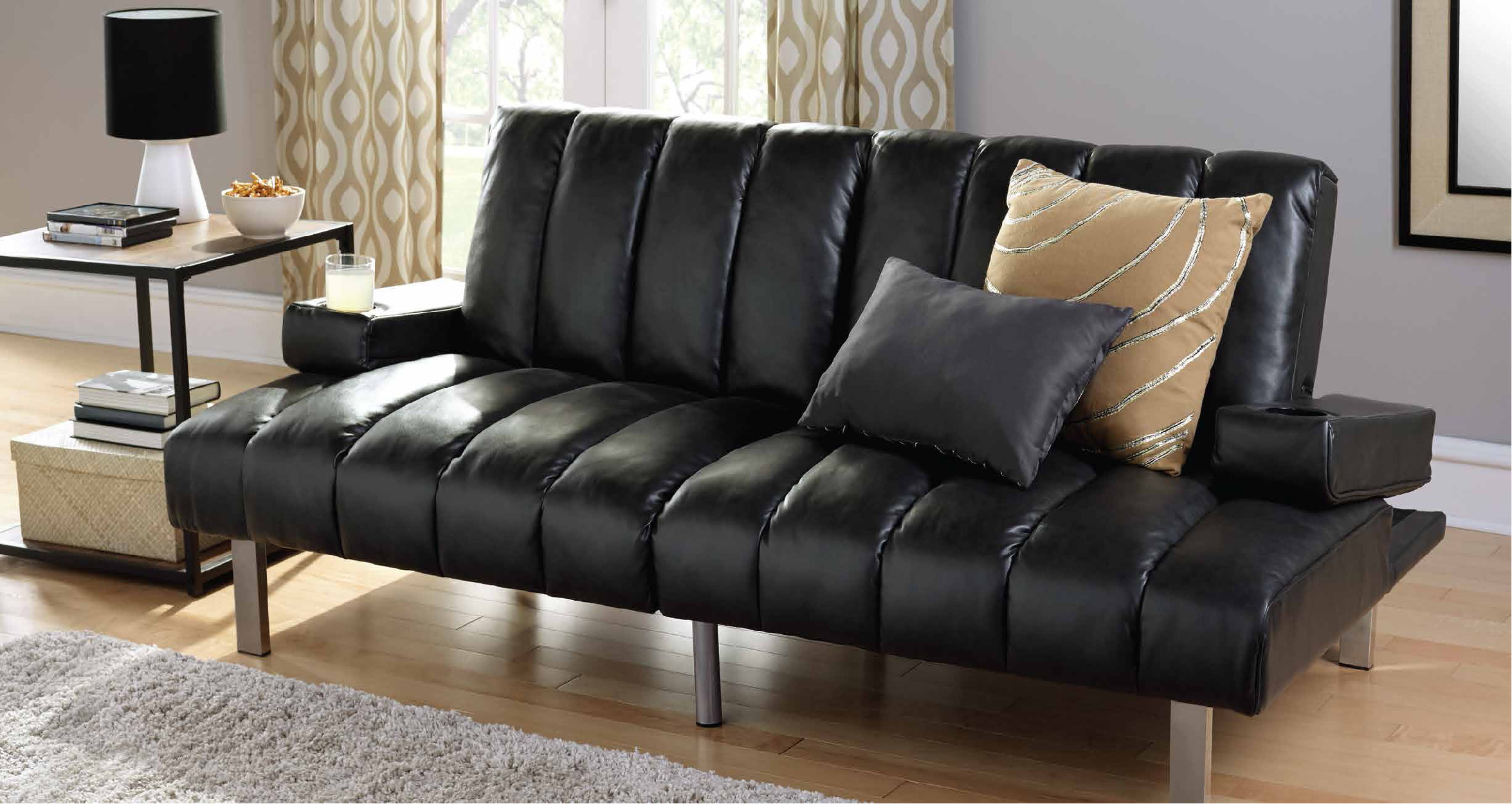 mainstays theater futon with armrests cupholders