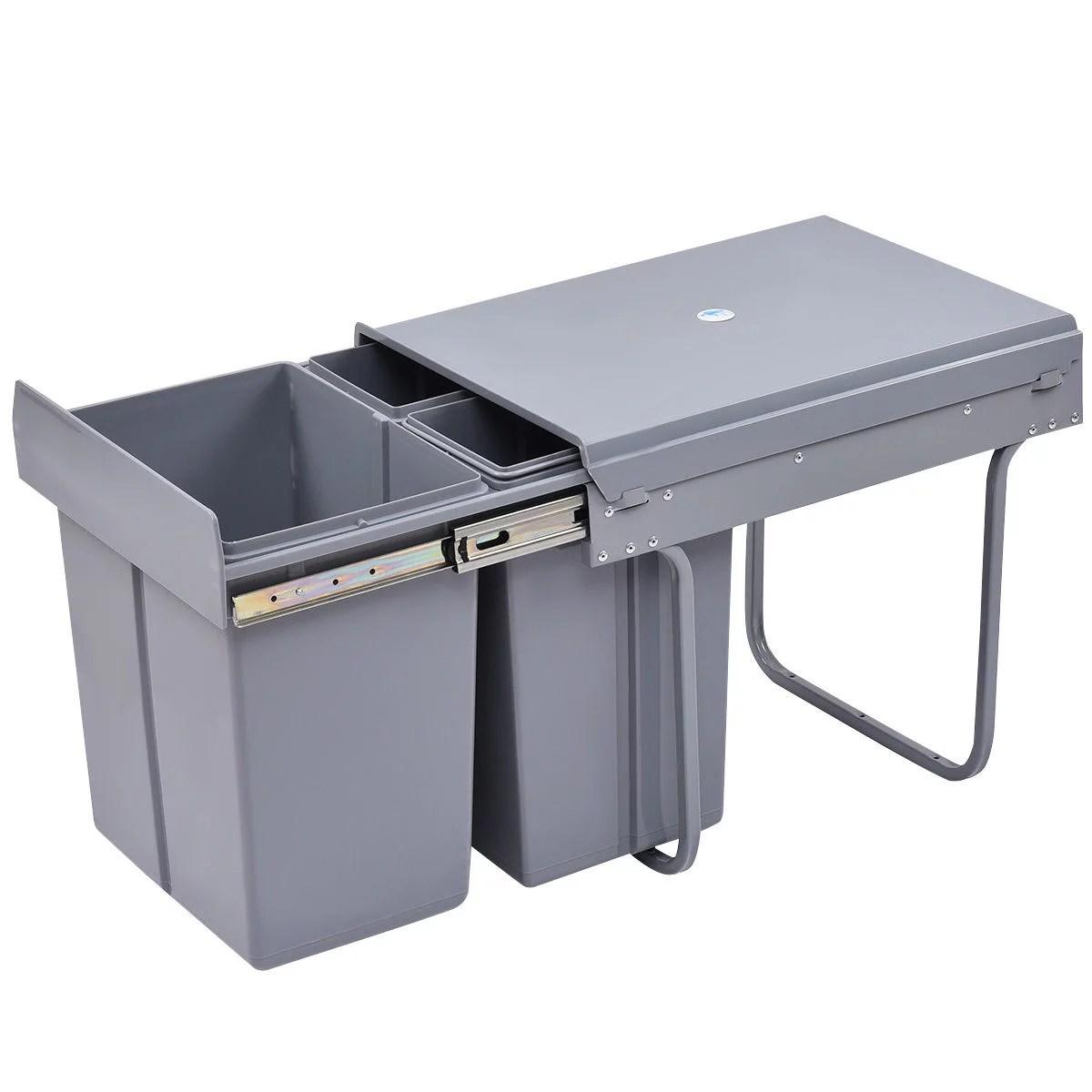 costway poubelle de cuisine encastrable coulissante pour placard cuisine poubelle recyclable poubelle tri selectif gris 20l 10lx2