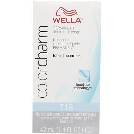 wella color charm liquid toner t18 lightest ash blonde 1 4 fl oz 42 ml walmart
