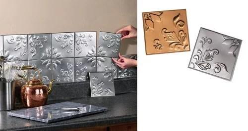 tin kitchen backsplash tiles set of 14 silver by collections etc