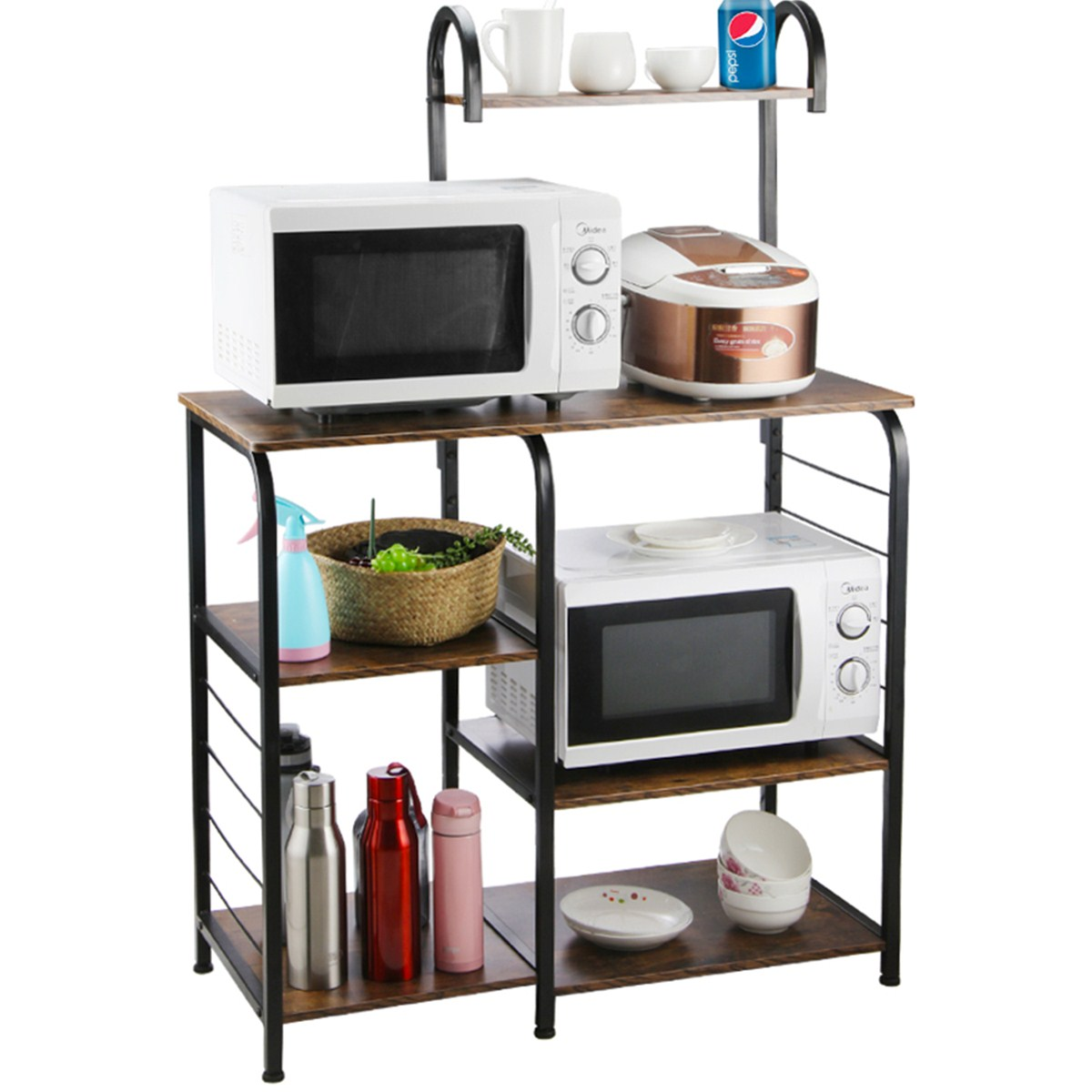 insma industrial kitchen bakers rack utility storage shelves microwave cart microwave oven stand for kitchen organizer rack rustic brown