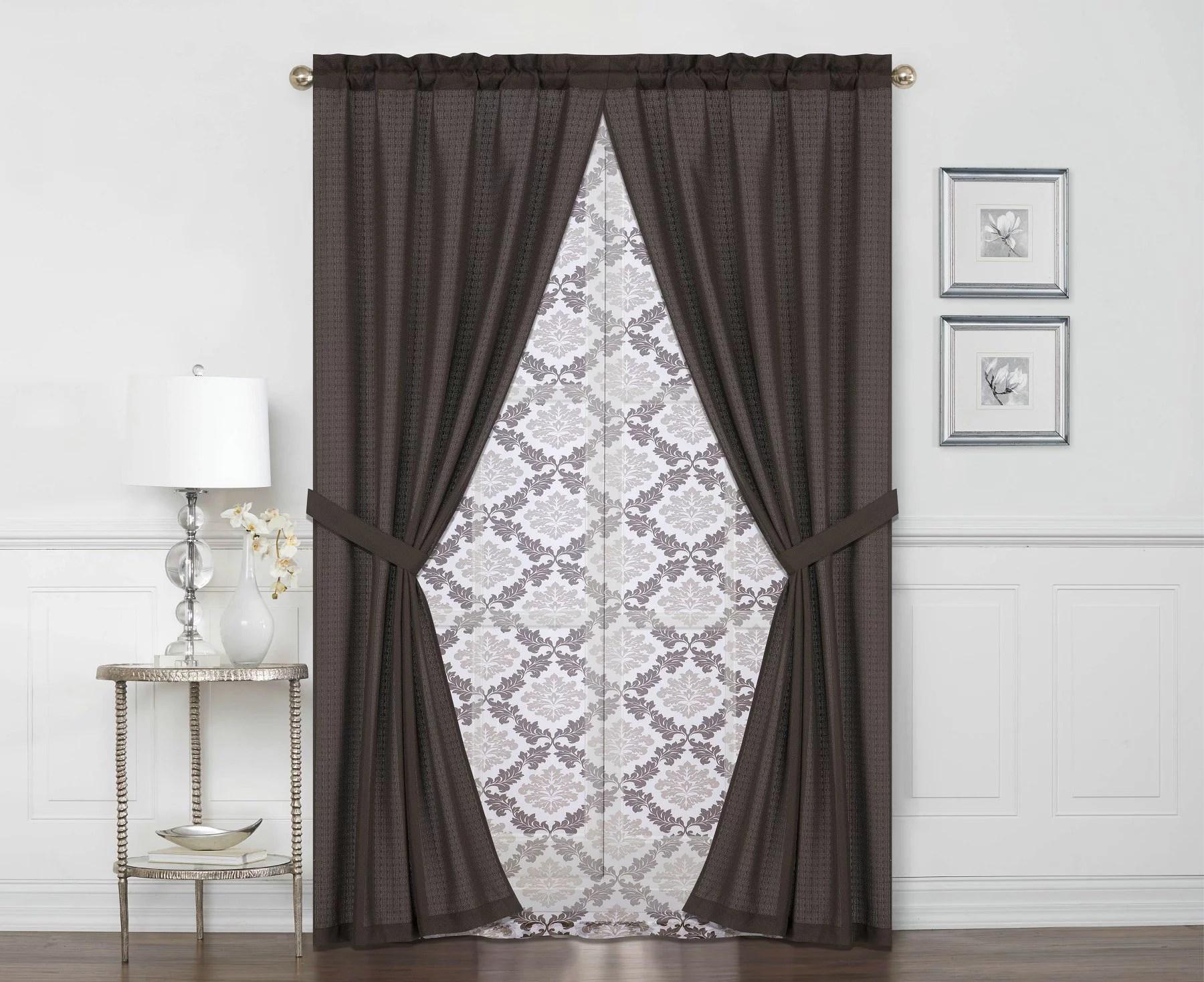 mainstays betty jane light filtering curtain panel 6 piece set