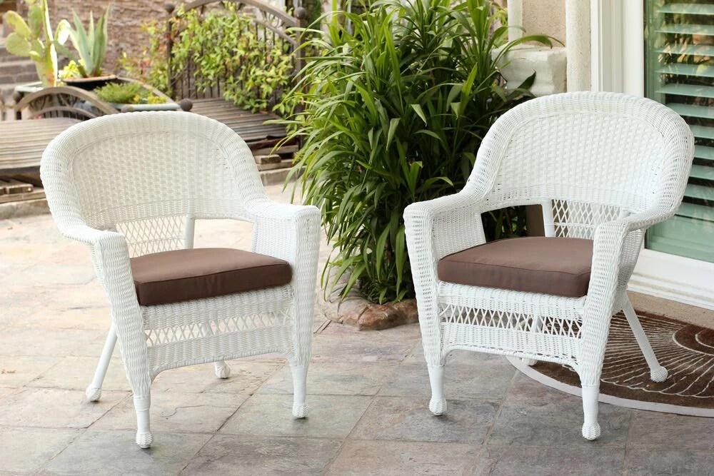 set of 2 white resin wicker outdoor patio garden chairs mocha brown cushions walmart com