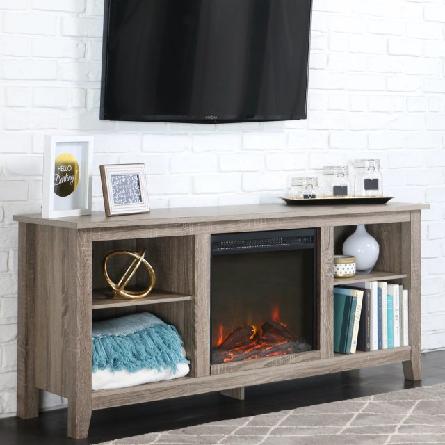 Walker Edison Driftwood TV Stand with Fireplace Insert for TVs up