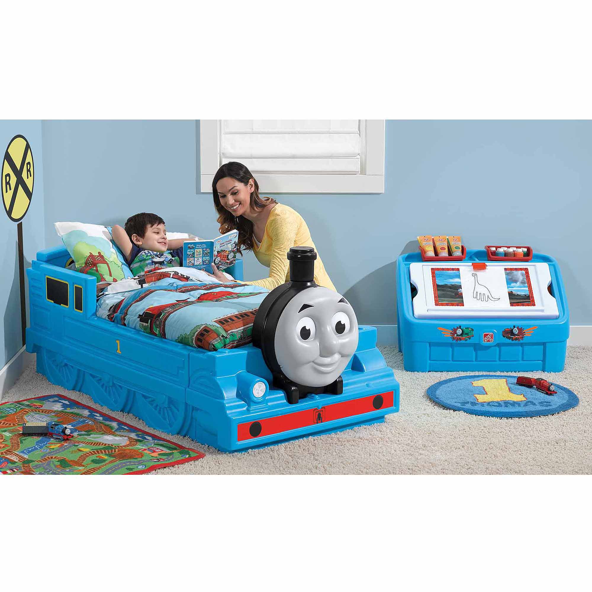 step2 thomas the tank engine plastic toddler bed blue