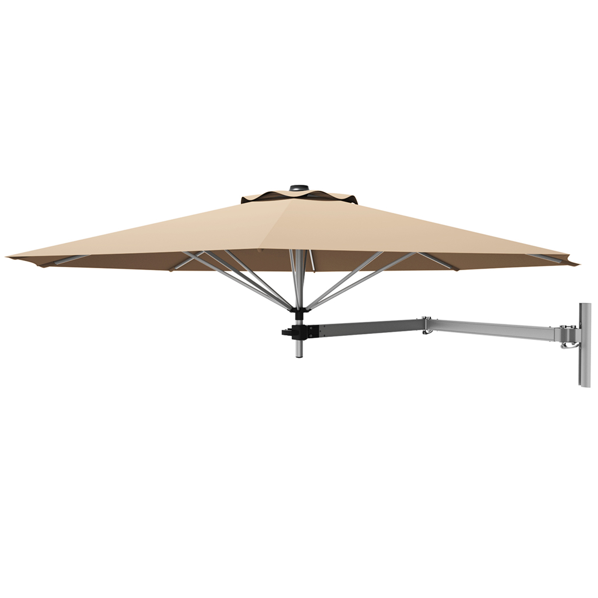 gymax 8ft patio wall mounted cantilever umbrella parsol w adjustable pole beige