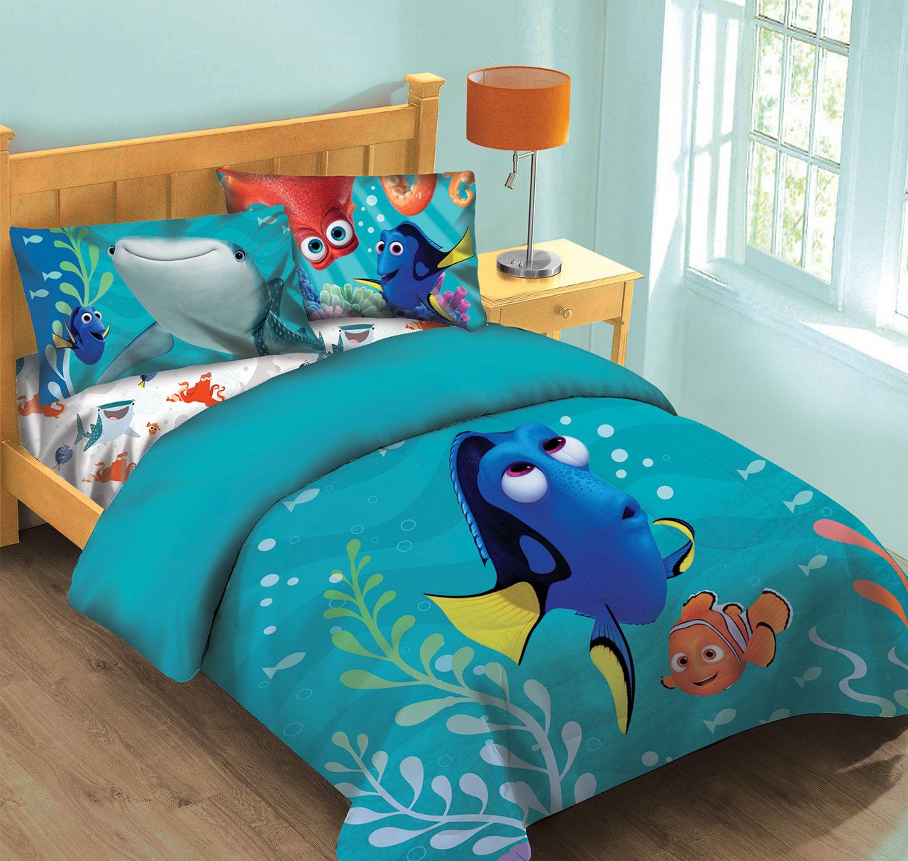 disney finding dory fish finder twin comforter set w fitted sheet walmart com