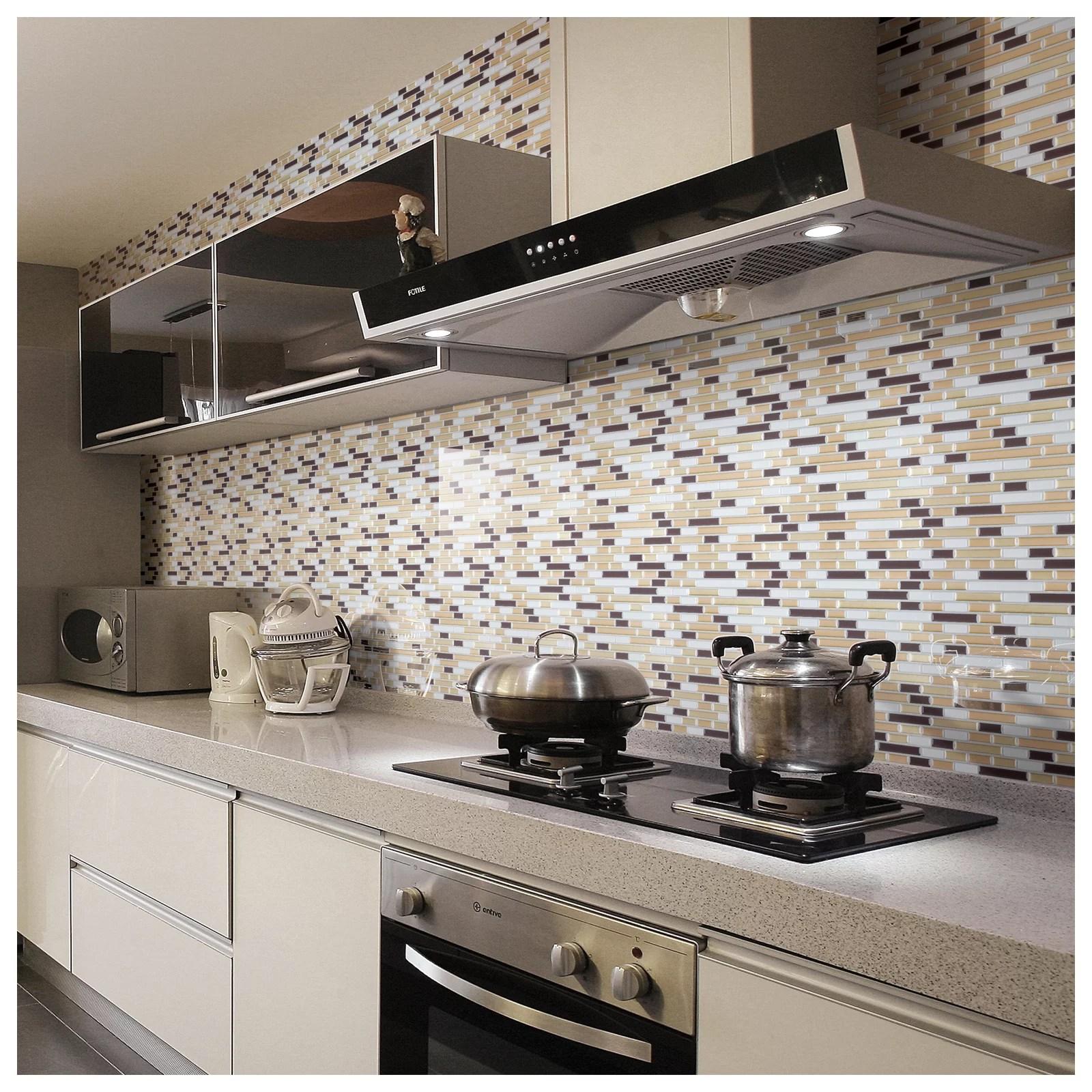 art3d peel and stick backsplash tile sticker vinyl wall covering 12 x 12 champagne gold 10 pack walmart com