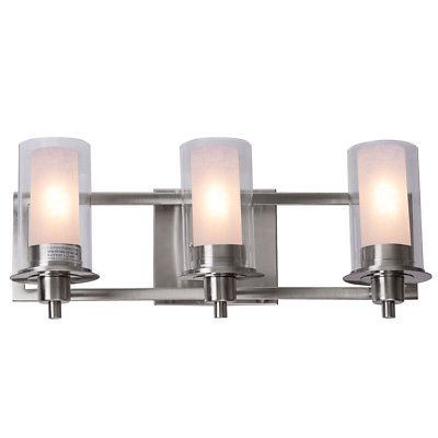 Gymax 3-Light LED Vanity Fixture Brushed Nickel Wall ... on Bathroom Wall Sconce Lighting id=58710
