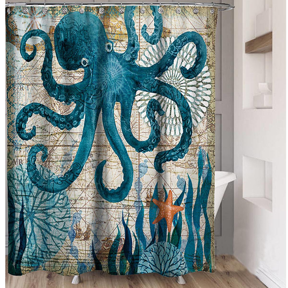 octopus shower curtain with hooks bathroom shower curtain durable ocean bath curtain waterproof shower curtain