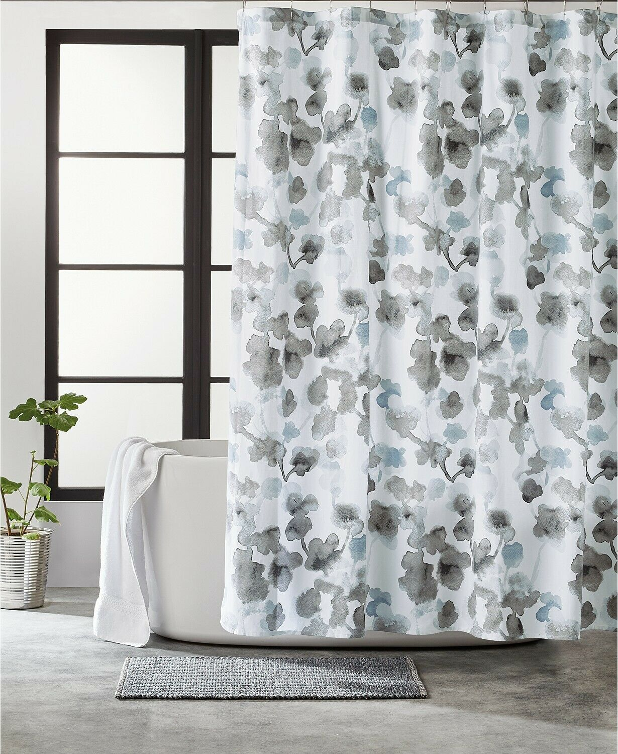 dkny city bloom floral watercolor 100 cotton 72 x 72 shower curtain gray blue