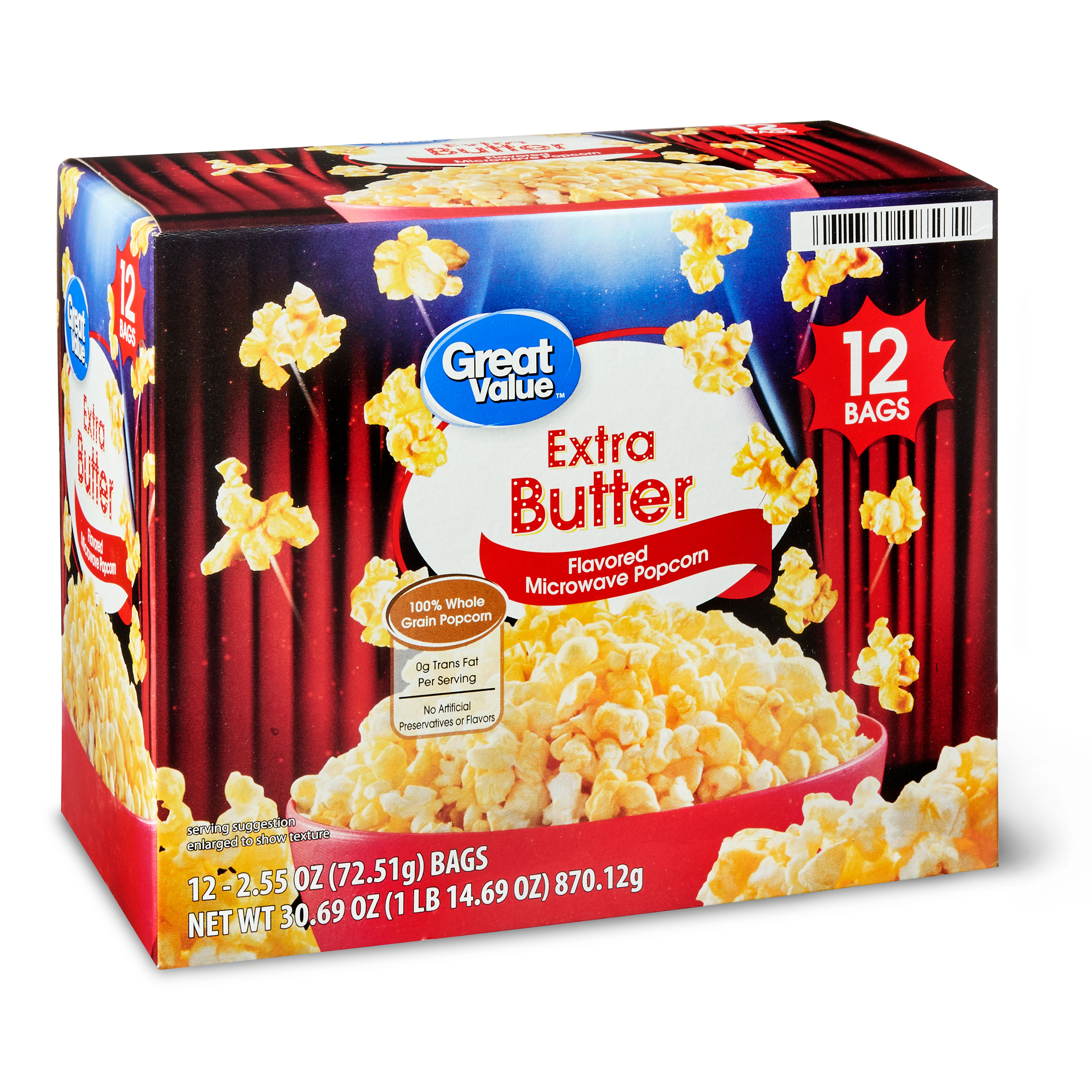 great value extra butter flavored microwave popcorn 12 count walmart com