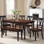 Modern Country Style 6pc Dining Set Black Finish Cherry Wood Top Dining Table Chairs Bench Contemporary Dining Room Furniture Walmart Com Walmart Com