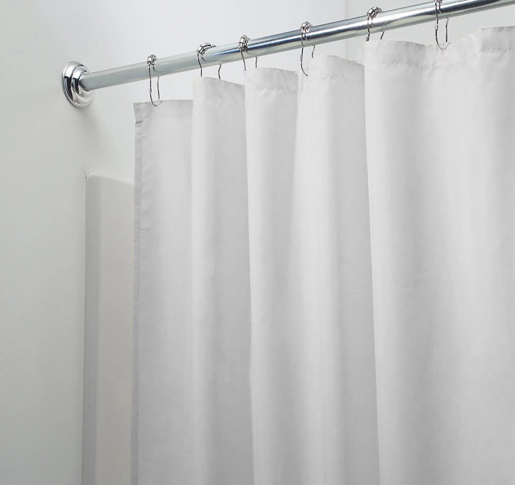 mold mildew resistant fabric shower curtain liner white