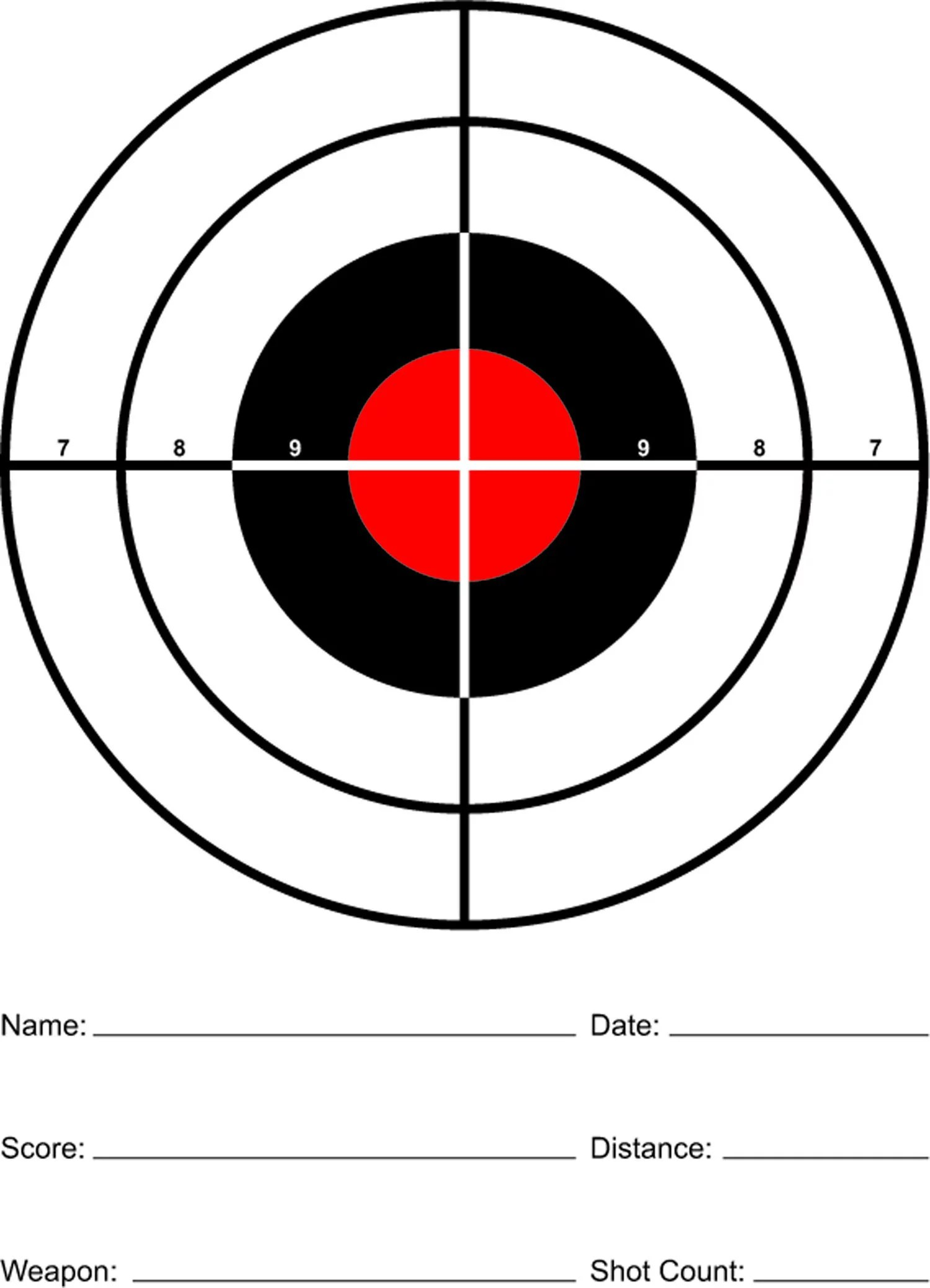 Red Sight In Paper Rifle And Pistol Shooting Targets