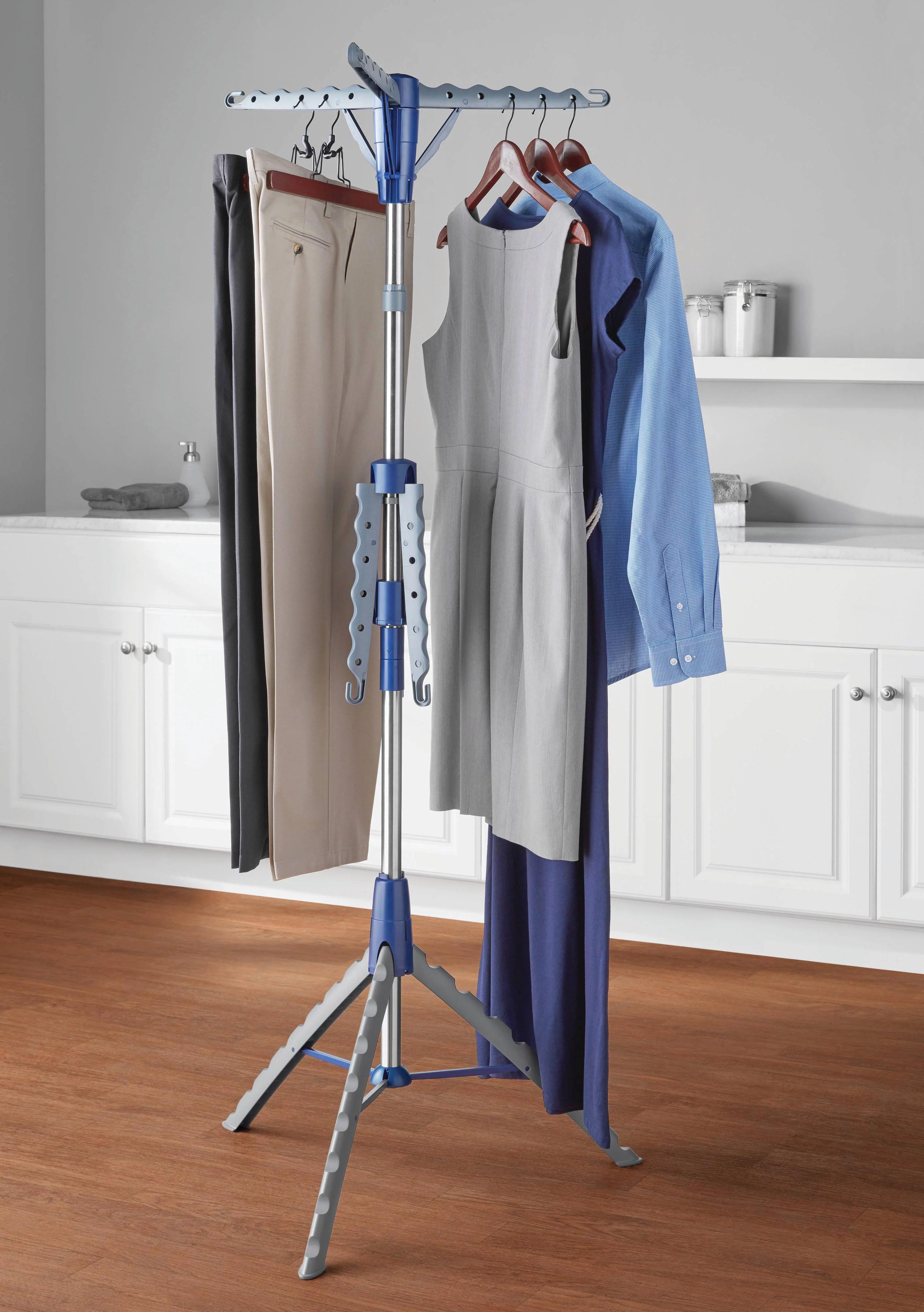 mainstays space saving 2 tier tripod hanging clothes drying rack walmart com
