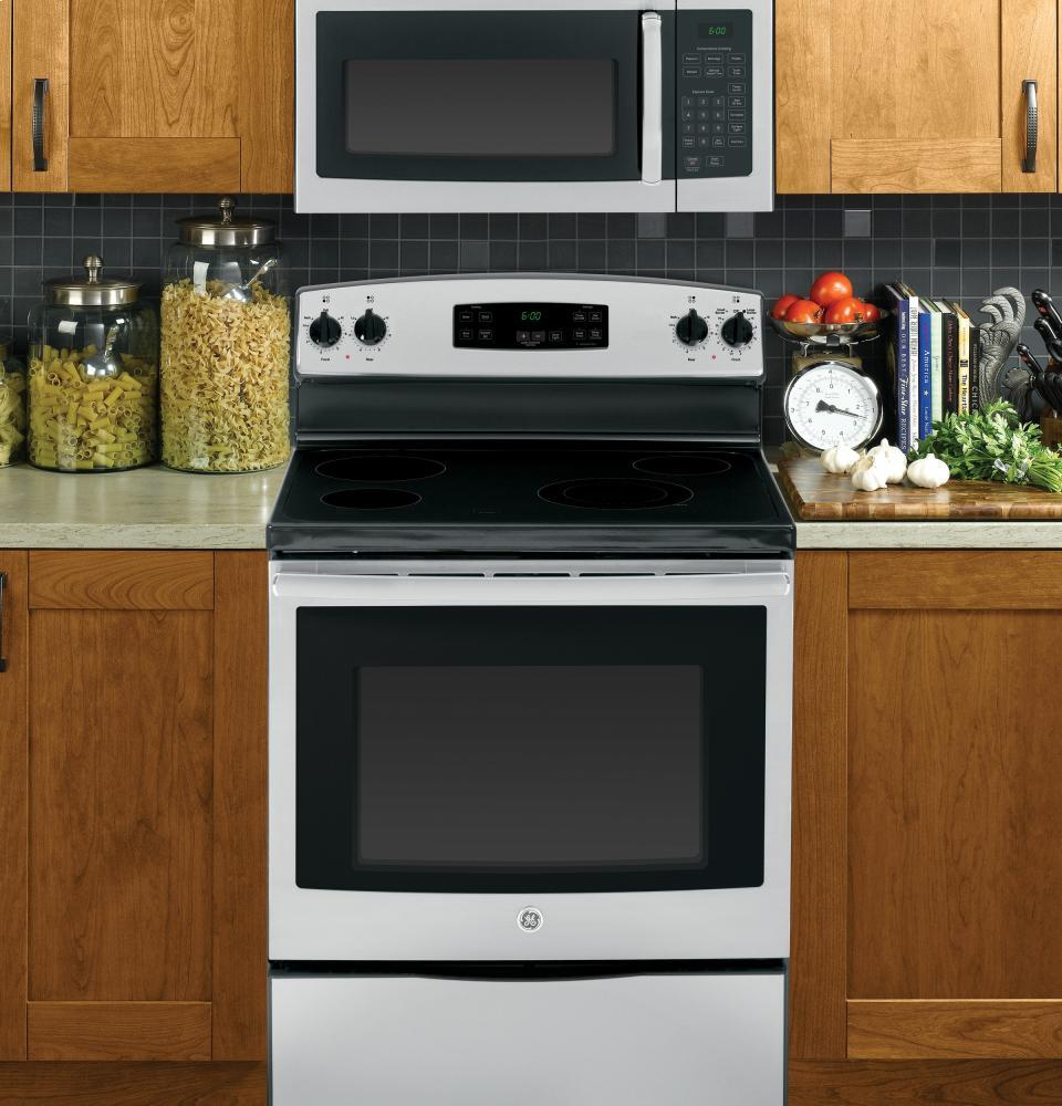 ge jvm3160rfss 30 over the range microwave oven with 1 6 cu ft capacity 2 speed 300 cfm venting in stainless steel