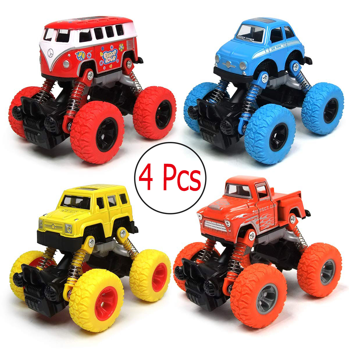 Pull Back Truck Cars Set Of 4 Cars Toys With Big Tire