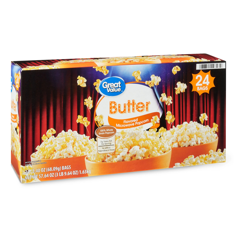 great value butter microwave popcorn 2 4 oz 24 count walmart com