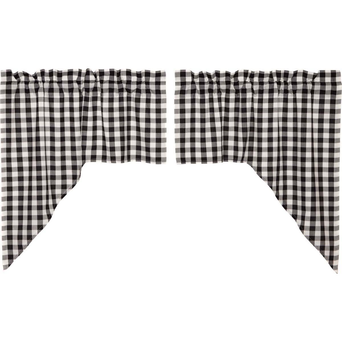 Vhc Brands Classic Country Farmhouse Kitchen Window Curtains Annie Buffalo Check White Lined Swag Pair Black Walmart Com Walmart Com