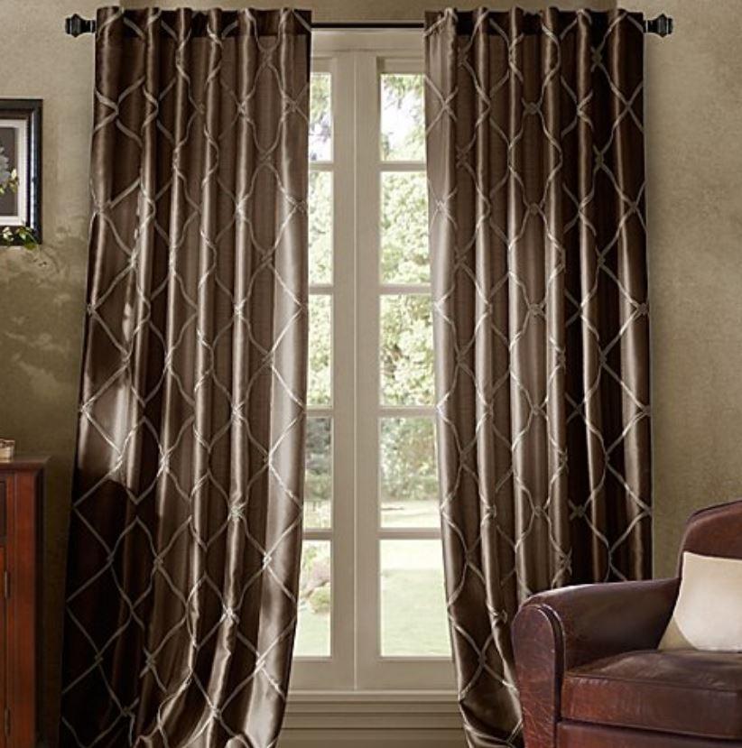 bombay garrison 108 inch rod pocket back tab window curtain panel in chocolate