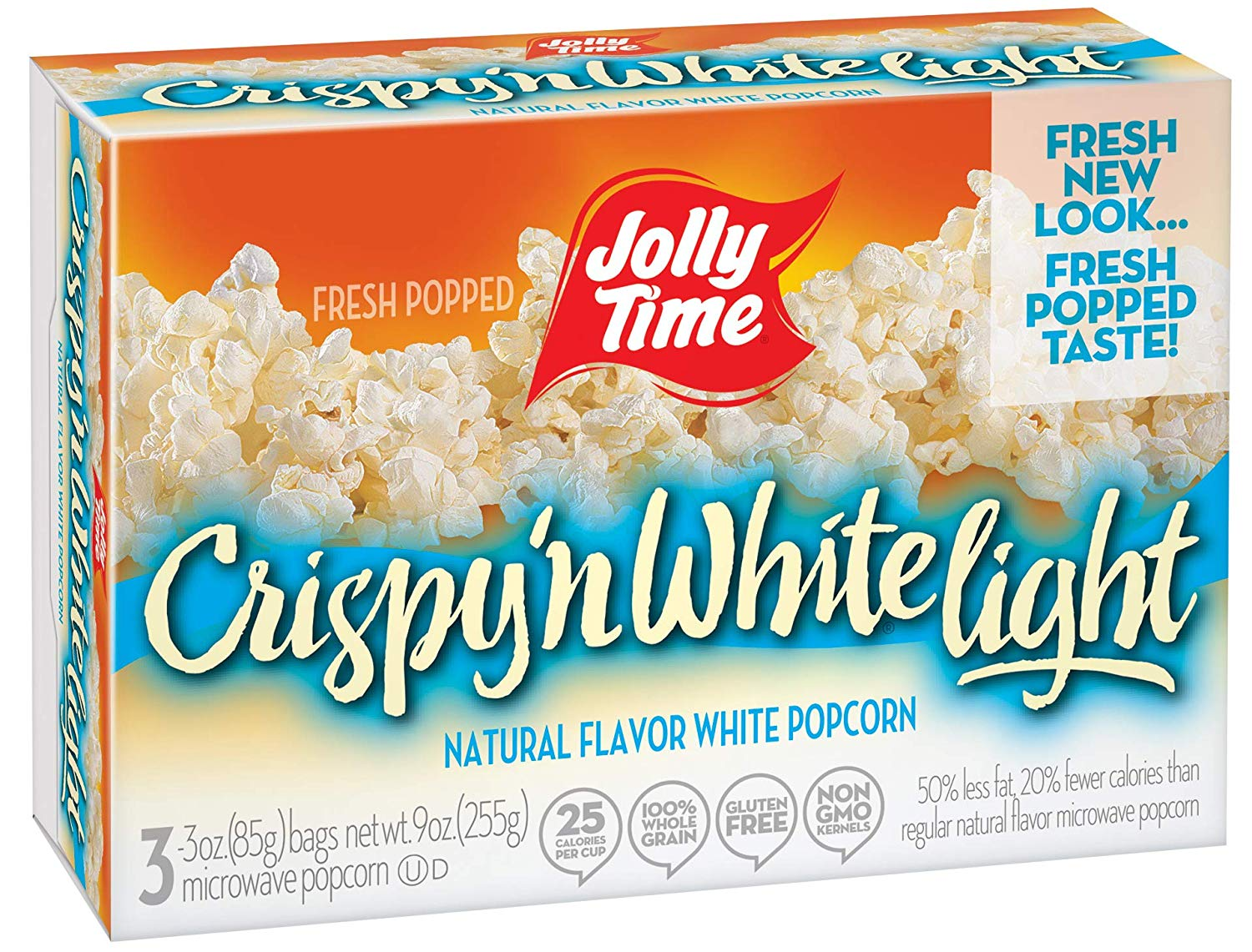 jolly time crispy n white light natural microwave popcorn 3 count boxes 9 oz pack of 12 walmart com