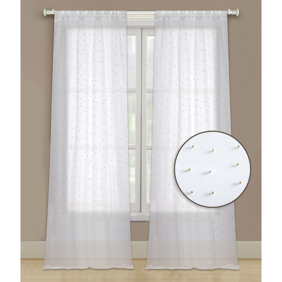 96 sheer 2 panel window curtains rod pocket drapes for bedroom living room and dining room white with gold beads
