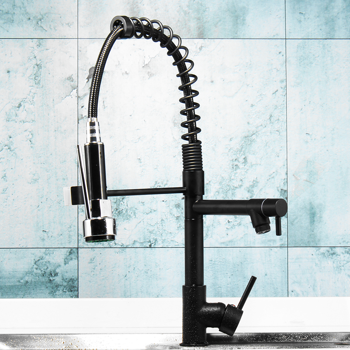 commercial spring pull down kitchen faucet with sprayer and pot filler oil rubbed bronze single handle spring pre rinse high arc tall modern kitchen