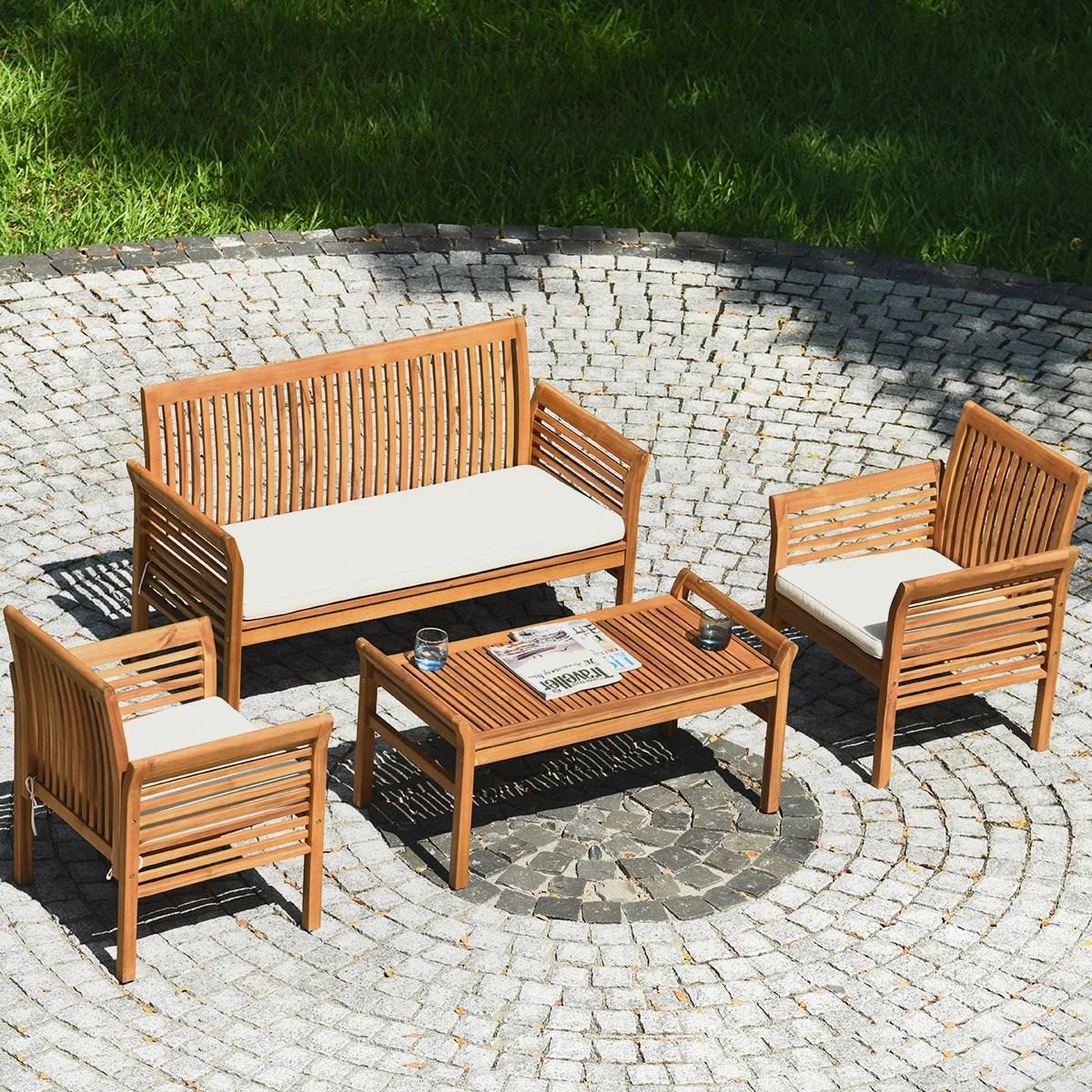 gymax 4pcs wooden patio conversation set outdoor furniture set w cushion walmart com