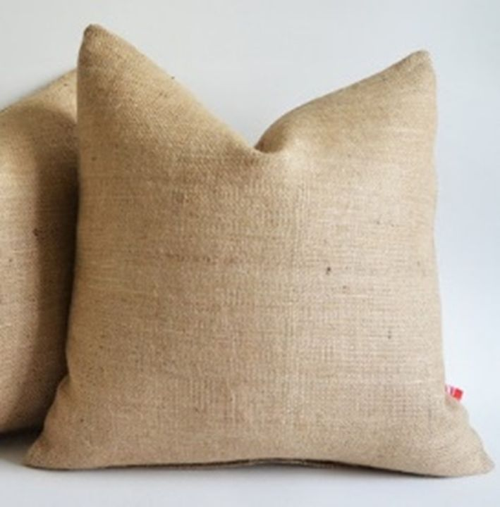 burlap pillow cover 24 x 24 inches inch rustic decor