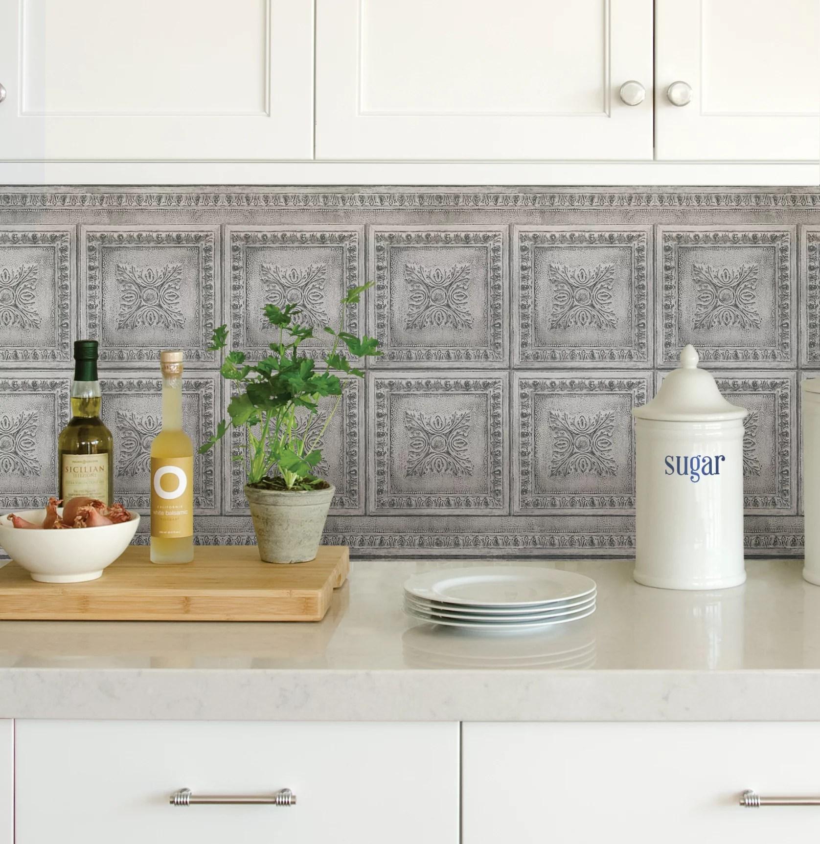 inhome ornamental tin grey peel stick backsplash tiles walmart com