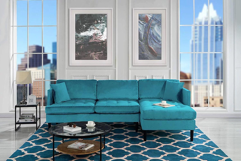 mid century modern tufted velvet sectional sofa l shape couch blue