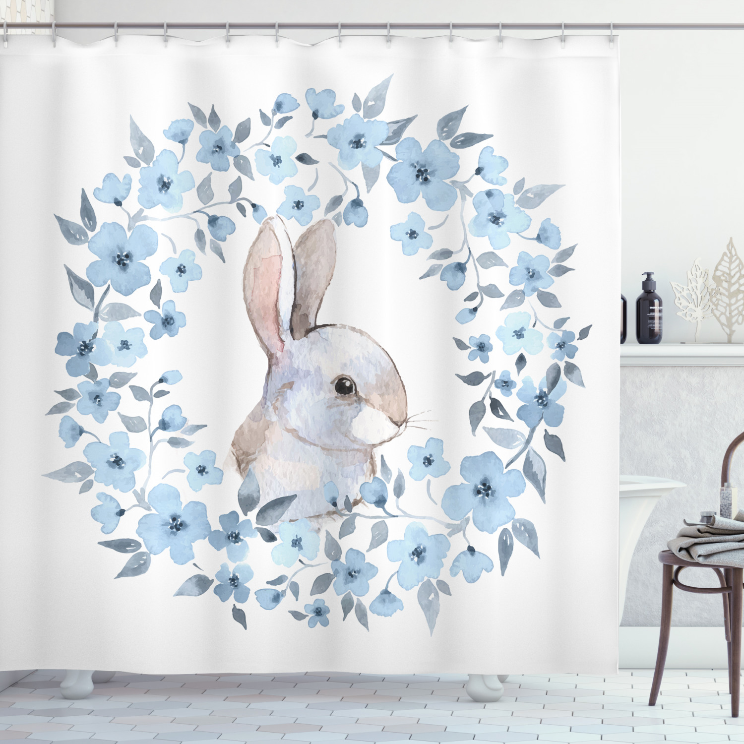 watercolor flower shower curtain bunny rabbit portrait in floral wreath illustration country style fabric bathroom set with hooks blue grey white
