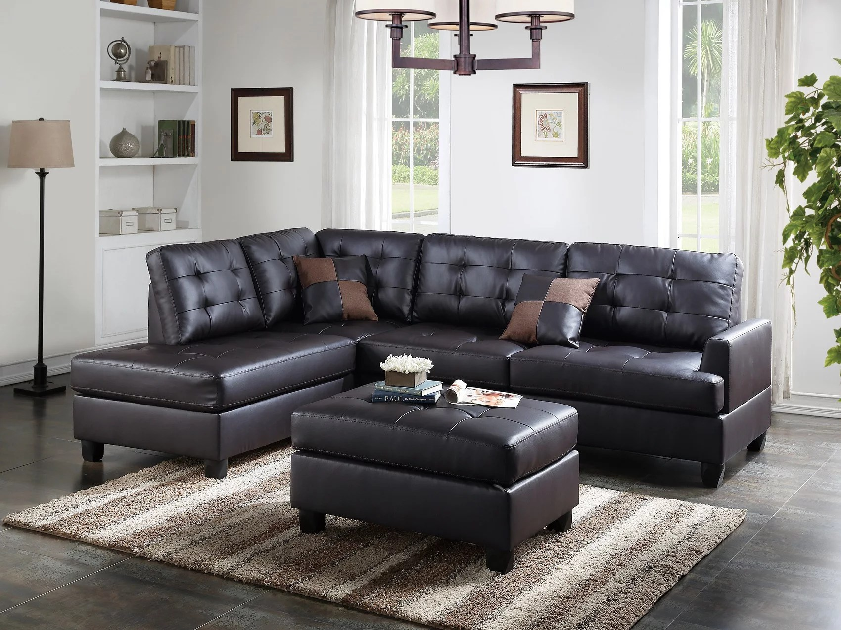 mathew sectional sofa set espresso faux leather sofa chaise ottoman tufted comfort couch living room furniture